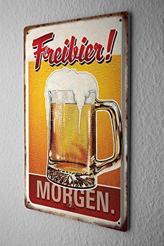 Blechschild Bier Retro Deko Freibier Morgen Partykeller Fun Wand Deko 20X30 cm