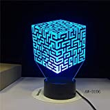 orangeww Night Light 3d Illusion/Luz decorativa / 7 colores Touch Remote Night Lights/Regalo de navidad/regalo de halloween/Cubo de Rubik