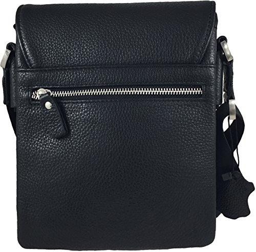 Zavelio Kleine Umhängetasche / Schultertasche / Laptoptasche / Messenger Bag aus echtem Leder Schwarz