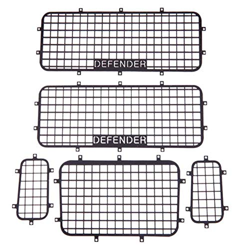 5pcs Metal Window Screen Protective Net with DEFENDER Logo for 1 / 10 RC Crawler Traxxas Car TRX-4 RC4WD RC Car Accessories RC Truck Models 4x4 Traxxas