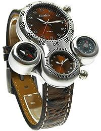 ufengke® únicas reloj de pulsera deportes al aire libre casual para hombres,dos zonas horarias termómetro reloj de pulsera muñeca brújula,marrón