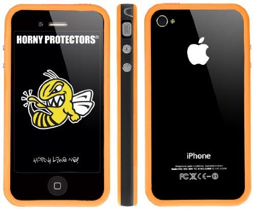 Horny Protectors Bumper für Apple iPhone 4 rosa/weiß mit Metallbutton Schwarz Orange