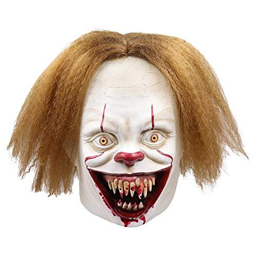 qiumeixia1 Neue Clown Maske Halloween Mascara Vollgesichts Scary Maskerade Party Zubehör Lustige Latex Cosplay Joker Kostüm Parodie Requisiten (Lustige Joker Kostüm)