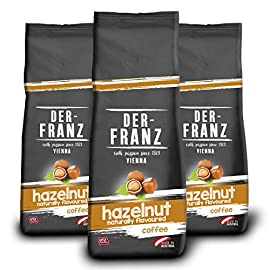 Der-Franz – Coffee, Flavoured with Natural Hazelnut UTZ, Whole Bean, 3 x 500 g