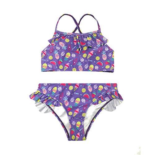 SHEKINI Traje de Baño de Niña Dos Piezas Estampado Tirantes Espalda Cruzada Bikini para Niña 6-14 Años (10-12 años, Morado)