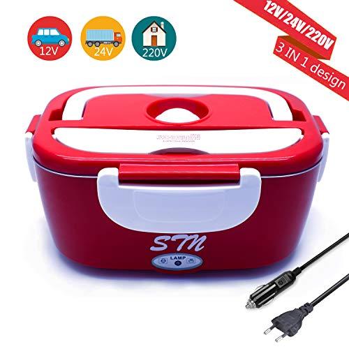 STN Elektrische Lunchbox Für Auto Büro,12V/24V/220V 3 IN 1 Elektrische Lunchbox Speisenwärmer Edelstahl Warmhaltebox Tragbare Food Box für Haushalt und Auto