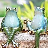 Lazy Puppy Garten Skulpturen & Statuen Keramik Paar Frosch Garten Dekoration