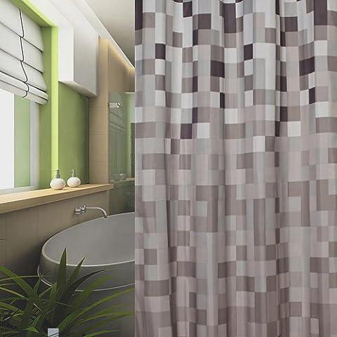 textile rideau de douche 120x200 carreau grise blanche noir marron 120 x 200 + bagues de douche!