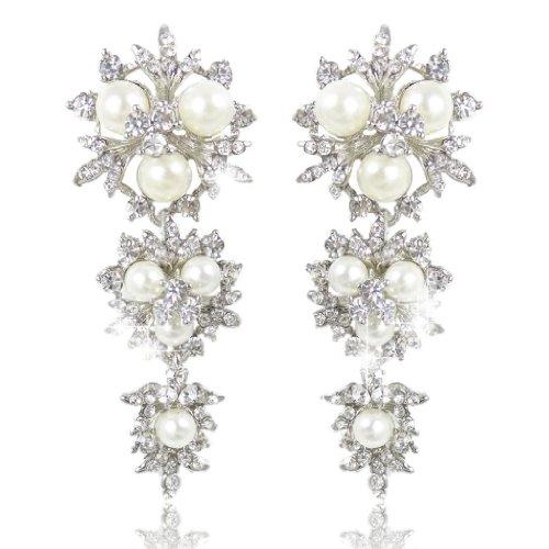 Ever Faith Il fiore di cristallo nuziale del fiocco di neve di colore avorio simulato gli orecchini della perla Cancella N00083-2