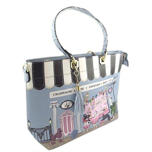 Les Trésors De Lily [P8597] - Bolsa de diseño 'Lolita' azul multicolor - 45x30x13 cm.