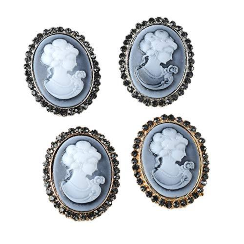 P Prettyia 4 Stück Vintage Oval Kristall Strass Knöpfe Verzierung Faltback Schmuckherstellung...