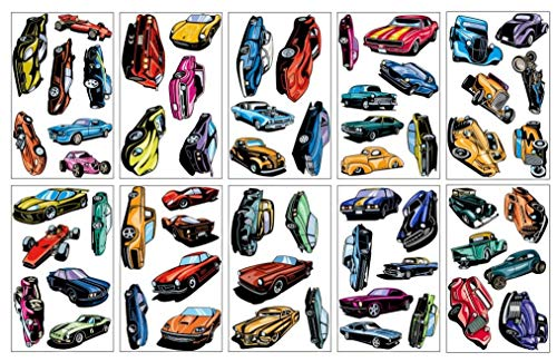 Samunshi® Mega Auto Set 60 Wandtattoo Wandsticker Hot Rod Muscle Car Supercars (Kinder-wand-sticker-cars)