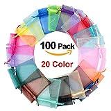 UniquQ 100 pezzi sacchetti regalo organza sacchetti colorati festa nuziale sacchetti per gioielli avvolgere, 10 x 15 cm, 20 colori