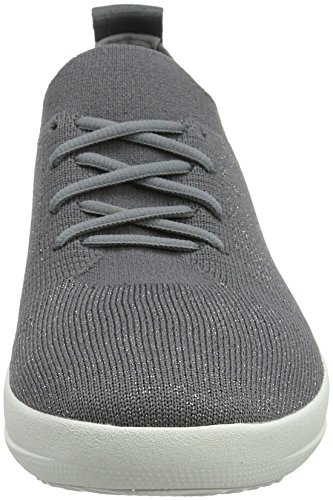 FitFlop F-Sporty Uberknit Sneaker - Black/Metallic Bronze Grey (Charcoal/Metallic Pewter 551)