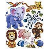 stickerko enig adhesivo 3d pared pared pegatinas habitación de los Niños–niedliche Zoo Animales, elefante, león, Zebra, Mono, etc.–También para ventana, armarios, puertas etc. en arco