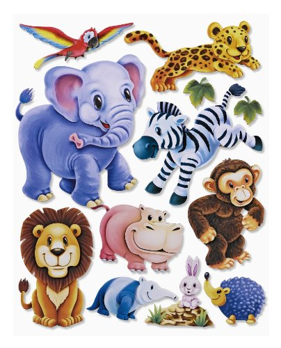 stickerko enig adhesivo 3d pared pared pegatinas habitación de los Niños-niedliche Zoo Animales, elefante, león, Zebra, Mono, etc.-También para ventana, armarios, puertas etc. en arco