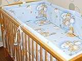 Nestchen Bettumrandung Kopfschutz Für Baby Kind - Bärchen auf Leitern- BLAU- 190cm, 360 cm, 420cm für Bett 70x140 cm, 60x120cm 360 cm
