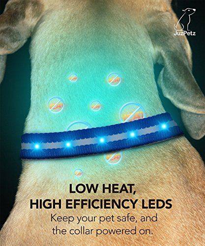 JuzPetz Rechargeable LED Dog Collar, Reflective Flashing Visible Collar [Water Resistant | 3 Glow Modes] Adjustable Light-Up Pet Safety Collar with USB Charging Cable 8