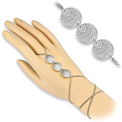 Bungsa® Handkette Lotusblüte 3fach Slave Chain für Damen silber Brass (Slave- Kette Armband Fingerring Fingerkette - Silber-armband-finger-ring