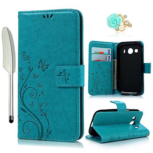 YOKIRIN Samsung Galaxy G357 Wallet Case Samsung Galaxy Ace 4 G357 SM-G357FZ (4.3 Zoll) Hülle Stand PU Leder Tasche Wallet Flipcase Schut Bookstyle Silikon Brieftasche Handyhülle Schmetterling Blau