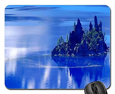 phantom ship island crater lake oregon Mouse Pad, Mousepad (Lakes