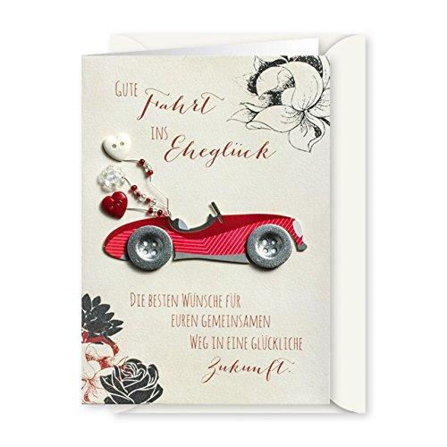 Knopfkarte 32 - Gute Fahrt ins Eheglück - Hochzeitskarte