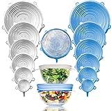 Hashtage - Coperchi in silicone elasticizzato per alimenti, 12 pezzi, per padelle, piatti, contenitori per congelamento, riutilizzabili, senza BPA Trasparente e blu.