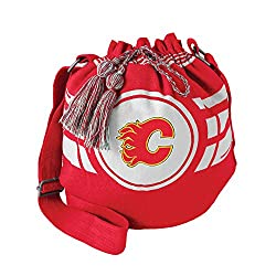 NHL Calgary Flames Womens NHL Ripple Drawstring Bucket Bag, Light Red, 12