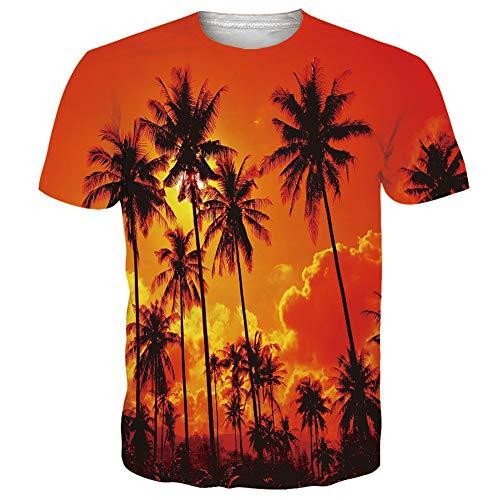 Funny Club (RAISEVERN Herren Ferien T-Shirts Rundhals Tops Bedruckte Kurzarm Funny Summer T-Shirts für Hawaiian Club, Bright Orange)