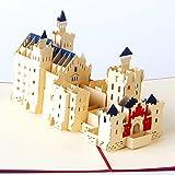 Uniqueplus Schloss Neuschwanstein Castle creative 3D Pop Up saluto Kirigami Gift Cards per anniversario, matrimonio, compleanno, coppia, festa della mamma, festa del papà, Thank You