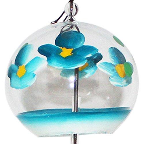 Handgemachtes Japanisches Windspiel aus Glas mit blauen Blüten