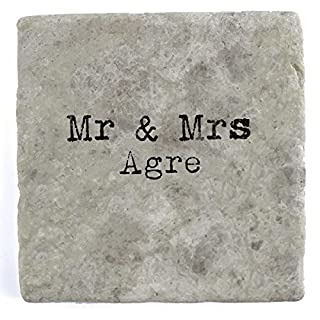 Mr & Mrs Agre - Single Marble Tile Drink Coaster