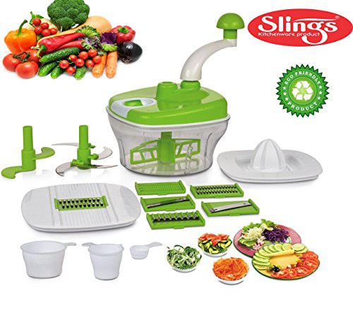 One Stop Shop Slings Manual Food Processor - Chopper, Blender, Atta Maker, Dough Kneader,14 Pieces (Multicolor)