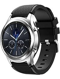 Correa de reloj 22mm, happytop sólido correa de muñeca Pulsera de silicona relojes de repuesto para Samsung Gear S3Classic, hombre, negro, S