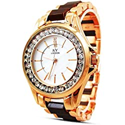 New Women's Ladies Watch Town Tone Rose Gold Brown Strap Mother of Pearl Dial Quartz