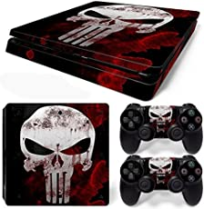 Elton Skull (White & Red) Theme 3M Skin Sticker Cover for PS4 Slim Console and Controllers