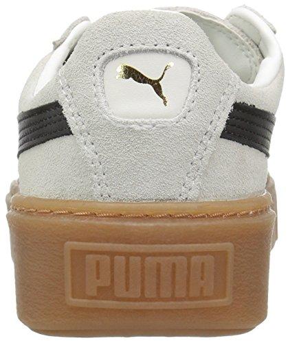 PUMA Women s Suede Core Platform  Whisper White Black  6 5 UK