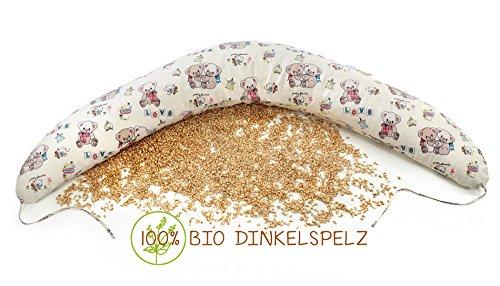 Coussin d'allaitement confort - Lune, 100% bio - Épeautre, naturel avec housse amovible lavable 100% coton