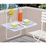PROGARDEN Table de Balcon Suspendue Table terrasse || Banc Blanc || à accrocher 60x 40cm