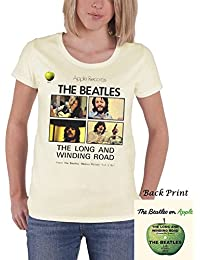The Beatles T Shirt Long And Winding Road offiziell damen Nue Cream Skinny Fit