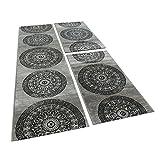 Paco Home Bettumrandung 3 teilig Kreis Ornament Teppich Läufer Meliert in Grau Schwarz, Grösse:2mal 80x150 1mal 80x300