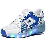 Zapatillas Con Ruedas Zapatos Deportivas Sports Running Para Adulto Niño Niñas y Luces (27, Azul)