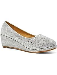 Londres calzado Gloria, las niñas de cuña tacón corte zapatos