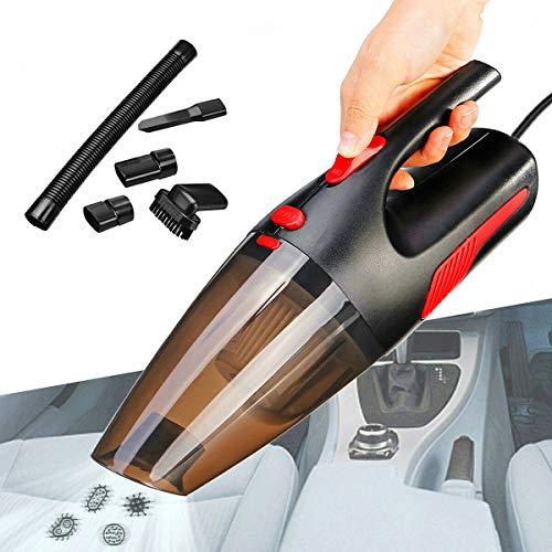 Handstaubsauger Umfasst (ATOMICO Tragbarer Auto-Staubsauger, DC12V 120W, Nasser/trockener automatischer Handstaubsauger, mit Notlicht / 5 m Netzkabel für Auto, Haustier oder Haus,Black)