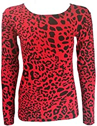 Home of Fashion Womens Red and Black Leopard Print Long Sleeved Top