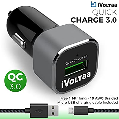 iVoltaa QC 3.0 Quick charge Car Charger with Free Braided Charging Cable (Micro USB)- Suitable for all types of Mobiles, Tablets, GPS and other compatible electronic devices