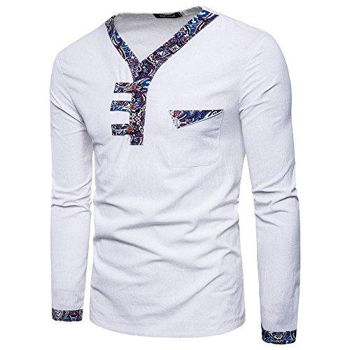 Herren bluse, GreatestPAK Retro Lässig Patchwork Druck-T-Shirt Lange Ärmel Oben