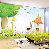 Wandgemälde Benutzerdefinierte Fototapete Pastoralen Handgemalte Kinder Cartoon Schloss Kinderzimmer Schlafzimmer Hintergrund Wand Dekor Wandmalereien,300Cm(H)×500Cm(W)