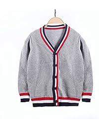 fac406b6e04d J-TUMIA Giacca da Bambino Tops Coat Maglione per Cardigan Scolastico Scollo  a V Scollo a V con Scollo a V a Due Fili per Bambini 2-8 Anni…