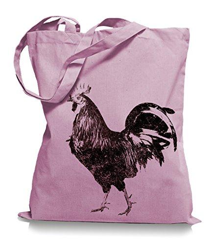 Ma2ca® Schwarzer Hahn Stoffbeutel Einkaufstasche Tasche Tragetasche / Bag WM101 Classic Pink